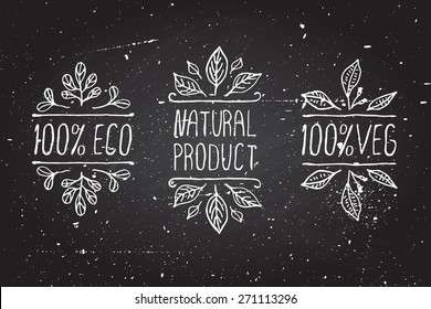 Hand-sketched typographic elements on chalkboard background. Natural products. Suitable for ads, signboards, menu and web banner designs