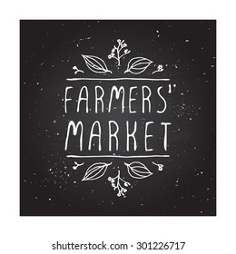 Hand-sketched typographic elements on chalkboard background. Farmers market