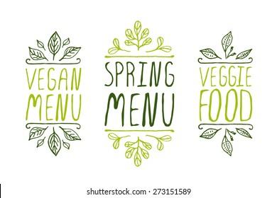 Hand-sketched typographic elements on white background. Vegan menu. Spring menu. Veggie food. Restaurant labels. Suitable for ads, signboards, menu and web banner designs