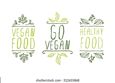 Hand-sketched typographic elements. Vegan product labels. Suitable for ads, signboards, packaging and identity and web designs. Vegan food, go vegan, healthy food
