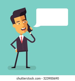 Handsome asian businessman in formal suit talking on the phone. Manager talking on cell phone. Cartoon character - cute asian businessman. Vector illustration in flat design.