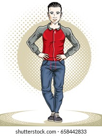 Athletic Brunet Young Adult Man Standing Stock Vector Royalty Free