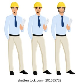 Handsome attractive men engineers portrait set in helmet with plan paper isolated vector illustration