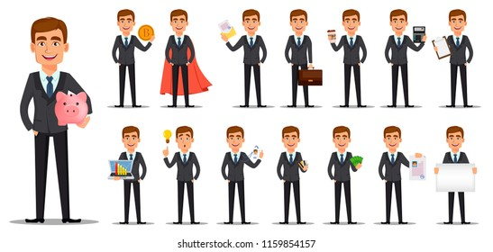 Handsome banker in business suit. Cheerful cartoon character, set of fifteen poses. Vector illustration on white background.