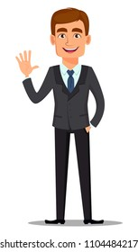 Handsome banker in business suit. Business man, manager, office worker. Cheerful cartoon character waving hand. Vector illustration on white background.