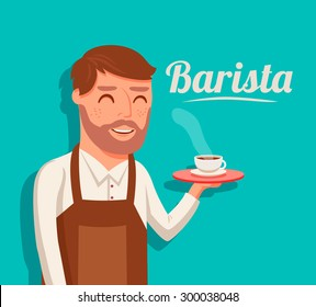 Handsome barista holding one cups of coffee .flat style