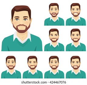 Handsome beard man with different facial expressions set isolated
