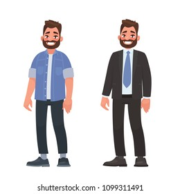 Handsome bearded man in casual and business clothes. Person dressed in a shirt and jeans and a strict suit. Vector illustration in cartoon style