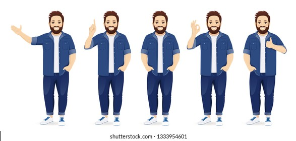 Handsome big man in casual clothes standing in different poses set isolated vector illustration