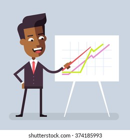 Handsome black businessman in formal suit is giving a presentation and showing graphs. Cartoon character - manager. Report, training. Stock vector illustration in flat design.
