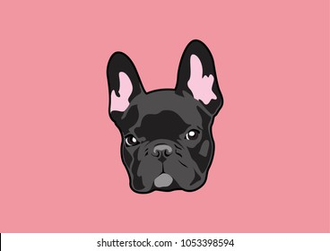 Handsome Black French Bulldog Logo. This is Frenchie Series in portrait photo style. You can bring him and create him on your product or any you want. It's suitable for use as a logo, symbol, signage.