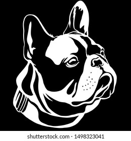 Handsome Black French Bulldog Logo. This is Frenchie Series in Black White style.