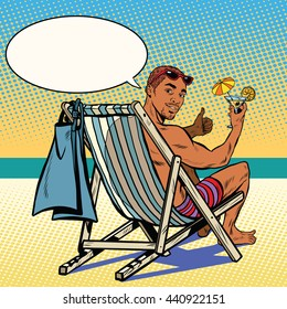 Handsome black man resting on the beach pop art retro vector. The man in the recliner. Retro vacation at sea