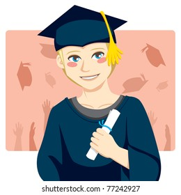 Handsome blond man smiling celebrating graduation day holding diploma in his hand