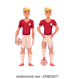 Handsome blond soccer player standing with football ball, cartoon vector illustration isolated on white background. Full length portrait of professional soccer player standing with football ball