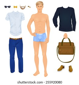 Handsome Blonde Man With Clothes Paper Doll Vector Illustration