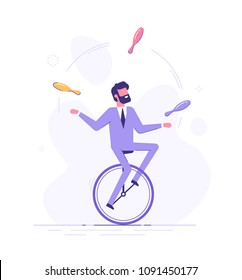 Handsome business man is riding on unicycle and juggling different tasks. Multitasking concept. Flat vector illustration.