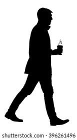 Handsome businessman with coffee going to work vector silhouette illustration isolated on white background. Coffee to go. Boy with hot drink in hands. Worming in cold day. Man walking with drink.