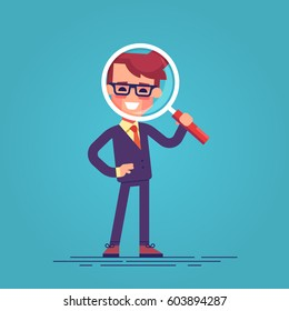 Handsome businessman in formal suit looking through a magnifying glass. Business concept for recruiting and researches. Funny cartoon character - manager with loupe. Vector flat design illustration.