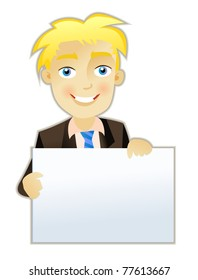 Handsome Businessman isolated on white with blank paper sign