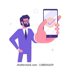 Handsome businessman showing smartphone display with successful check mark close up and winking. Friendly male character. Vector illustration.