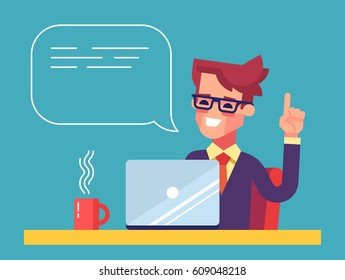 Handsome businessman working on his laptop holding up his index finger and giving advice. Attractive manager speaking with speech bubble. Modern character design. Flat vector illustration.
