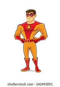 handsome cartoon superhero wearing a mask is standing confidence and proud with hands on hips