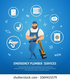 Handsome Company Plumber Service with Wrench. Vector Illustration of Cartoon Character Make Maintenance Boiler PipeLine and Central Heating System