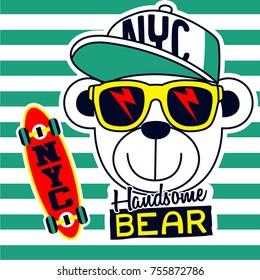 handsome cool bear cartoon,vector illustration