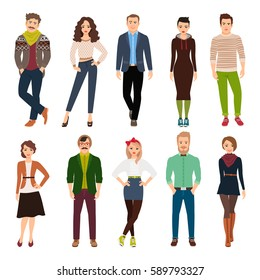 Handsome cute cartoon young fashion people isolated on white background. Casual wear men and women vector illustration