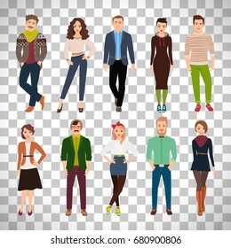 Handsome cute cartoon young fashion people isolated on transparent background. Casual wear men and women vector illustration