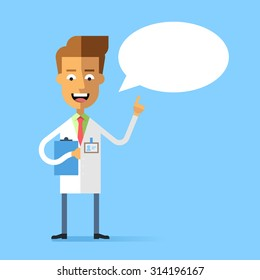 Handsome doctor in medical uniform holding up his index finger and giving advice. Attractive successful physician speaking with speech bubble. Stock vector character in flat design.