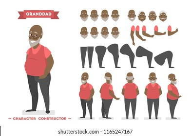 Handsome elderly african american man character in red pullover set for animation with various views, hairstyles, face emotions, poses and gestures. Isolated vector illustration in cartoon style