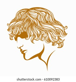 Handsome guy with blonde, curly hair and sunglasses.Beautiful man face vector illustration.