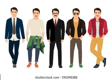 Handsome guy in casual and business style. Young man in different male clothes vector illustration