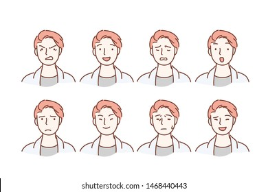 Handsome guy with different facial expressions. Young boy smiling, happy, kind, anger, sad face character. Set of men s emotions. Facial expression. Cartoon flat Design Isolated Vector Illustration