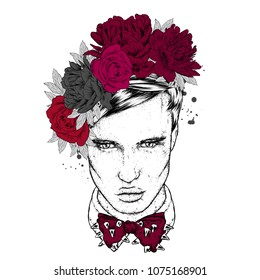A handsome guy is a flower wreath. Vector illustration. Fashion, style, clothing and accessories.