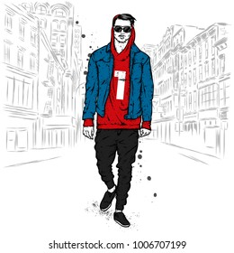 A handsome guy in a jacket, hoodie, jeans and moccasins. Vector illustration for a postcard or a poster, print for clothes. Fashion and style, clothing and accessories.