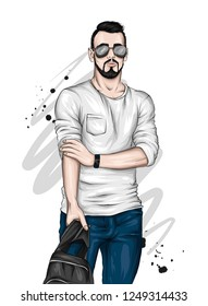 Handsome guy in stylish clothes and glasses. Vector illustration for greeting card or poster. Fashion & Style.