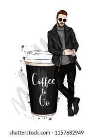 Handsome guy in stylish clothes. Hipster. Vector illustration. A large glass of coffee.