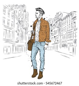 Handsome guy in stylish clothes. Hipster. Vector illustration.