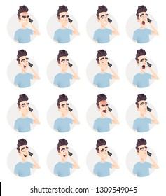 Handsome guy talking on the phone with different emotions. Man calls on the smartphone. Telephone conversation avatars.