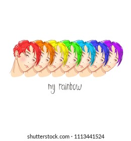 Handsome guys. Colored hair. Colors of rainbow.