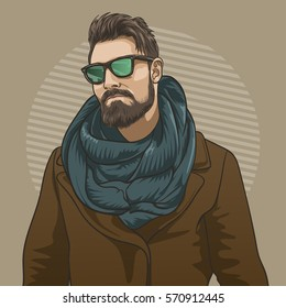 Handsome hipster man in sunglasses. Vector illustration