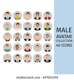 Handsome male avatar collection icons set. Vector illustration.