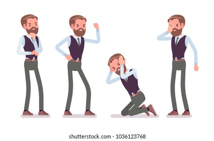 Handsome male office employee, feeling negative emotions, hate his job, tired with work, angry. Business casual men fashion concept. Vector flat style cartoon illustration isolated, white background