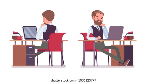 Handsome male office employee sitting at desk, working with laptop, workplace. Business casual men fashion concept. Vector flat style cartoon illustration isolated, white background, front, rear view