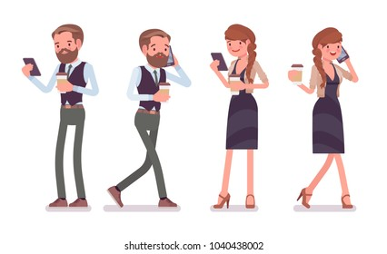 Handsome male and pretty female office employee standing, holding coffee cup and phone. Business casual fashion concept. Vector flat style cartoon illustration isolated, white background