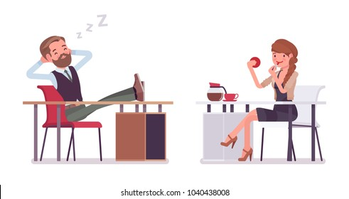 Handsome male and pretty female office employee sitting at desk, not working resting at workplace. Business casual fashion concept. Vector flat style cartoon illustration isolated, white background