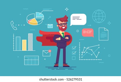 Handsome man with beard in a business suit and red cape superhero standing in a confident pose with his arms crossed with office process icons on background. Modern flat design. Vector illustration.